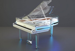 Blüthner, Lucid Pianos, Elegance High Gloss, Blue Neon (Picture by Lucid Pianos)