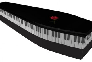 Black Piano & Rose coffin (Picture by G. Collins & Sons)