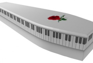 White Piano & Rose coffin (Picture by G. Collins & Sons)