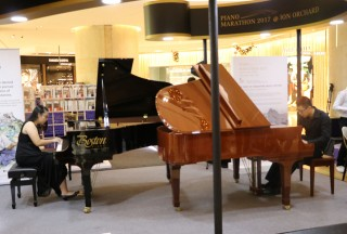 "Yuki Tan and Joshua Tan performing ""The Serpent's Kiss"" from  William Bolcom's The Garden of Eden - Picture by Steinway Gallery Singapore"