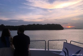Pianovers Sailaway 2016, Vanessa Yu, and Mitchell Chapman with a romantic sunset