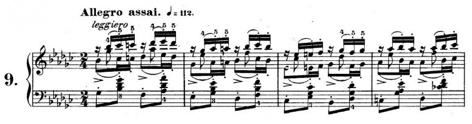 Figure 2(a) First 4 measures of Chopin's Butterfly Etude No. 25 No. 9