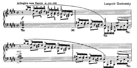 Figure 1. The first four measures of Chopin-Godowsky Study No. 22