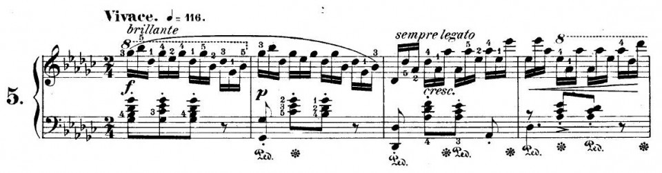 Figure 2(b) The first four measures of Chopin's Etude Op. 10 No. 5