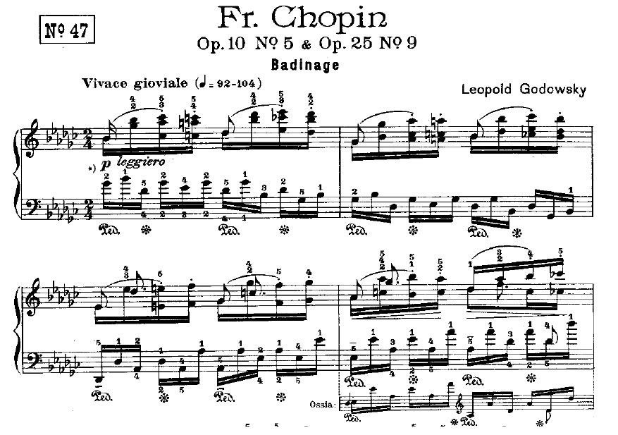 Figure 2(c). The first four measures of Chopin-Godowsky Study No. 47. Isn't the left-hand part from Op. 10 No. 5?!
