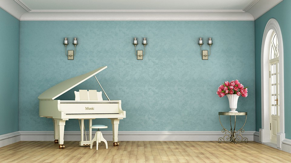 white piano in a room