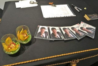Registration desk with Congyu Wang's Charme CDs