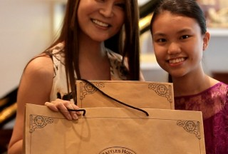 Celine Goh, General Manager of Steinway Gallery Singapore, with Nicole Tay, Close-up