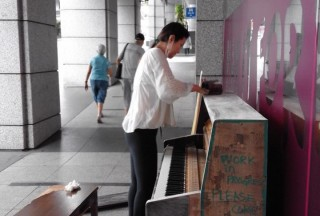 Play It Forward, Open Studio Friday, The URA Centre, A naked piano setup outside the Studio