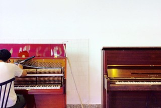 Play It Forward, Open Studio Friday, The URA Centre, Billy Soh working on the pianos