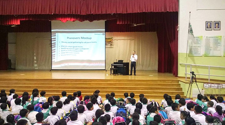 Arts Festival @ Zhonghua Primary School, Yong Meng sharing Pianovers Meetup during Assembly Talk