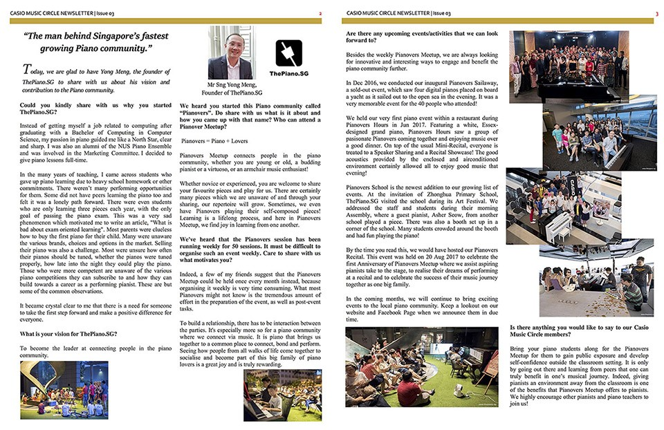 Media, Casio Singapore Newsletter Issue #3, Interview with Sng Yong Meng