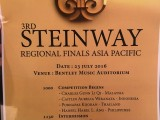3rd Steinway Regional Finals Asia Pacific 2016, Order of Contestant Performance Appearance