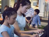 Pianovers Meetup #1, Ms He Zong Yi plays a duet with her student, Jeannie Li, front view