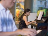 Pianovers Meetup #2, Tabitha Gan in focus with her duet partner, Chris Khoo