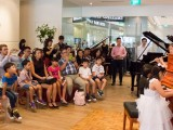Launch of new Steinway Crown Jewel, Crowd listening to the trio, Yi Ting, Toby Tan, and Chen Jing