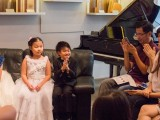 Launch of new Steinway Crown Jewel, Yi Ting, Chen Jing, Toby Tan, and their smiling teacher, Winnie Tay