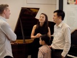 Launch of new Steinway Crown Jewel, Benjamin Shaw talking to parents