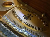 Steinway Gallery Singapore Clearance Sale 2016, Steinway & Sons logo on the iron frame inside the piano