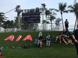 The Music Run, Runners resting beside an AIA logo