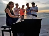 Pianovers Sailaway Pre-Event Shoot, Piano, champagne, and sunset