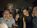 Pianovers Sailaway Pre-Event Shoot, Sng Yong Meng, Elyn, Hui Jie, Karina, and Abel with fireworks in the background
