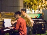Pianovers Meetup #16, Joseph Lim playing, helped by Chris with the paging