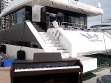 Pianovers Sailaway 2016, Casio CELVIANO AP-460 digital piano in front of the yacht