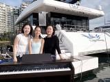 Pianovers Sailaway 2016, Pre-boarding picture of Cynthia Tan, Yan Yu Tong, and Karen Tan