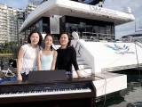 Pianovers Sailaway 2016, Pre-boarding picture of Cynthia Tan, Yan Yu Tong, and Karen Tan