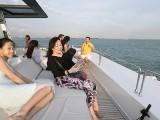 Pianovers Sailaway 2016, Yan Yu Tong, and Karen Tan on the flybridge