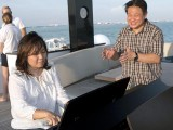 Pianovers Sailaway 2016, Junn Lim, and Gee Yong on the flybridge