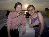 Pianovers Sailaway 2016, Mei Ting, and Siok Hua with a sunset backdrop