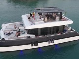 Pianovers Sailaway 2016, Aerial shot of the yacht #1, with 2 pianos on the flybridge