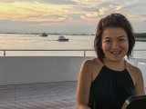 Pianovers Sailaway 2016, Julia Goh against a sunset backdrop