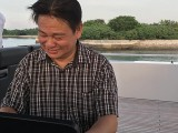 Pianovers Sailaway 2016, Gee Yong on the flybridge playing piano