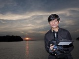 Pianovers Sailaway 2016, Videographer Rai with a sunset backdrop