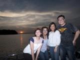 Pianovers Sailaway 2016, Kailing, Dorothy, Junn, and Jonathan with a sunset backdrop