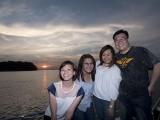 Pianovers Sailaway 2016, Kailing, Dorothy, Junn Lim, and Jonathan with a sunset backdrop