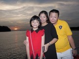 Pianovers Sailaway 2016, Eric Teo and family, with a sunset backdrop