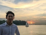 Pianovers Sailaway 2016, Gregory Goh with a sunset backdrop