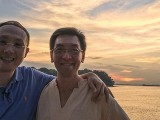 Pianovers Sailaway 2016, Sng Yong Meng, and Chris Khoo with a sunset backdrop