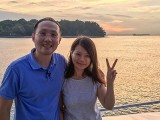 Pianovers Sailaway 2016, Sng Yong Meng, and Lorraine Li with a sunset backdrop