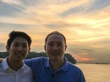 Pianovers Sailaway 2016, Gregory Goh, and Sng Yong Meng with a sunset backdrop