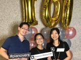 Pianovers Meetup #100 (Celebratory Themed), Pianovers taking picture at photo booth #19