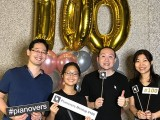 Pianovers Meetup #100 (Celebratory Themed), Pianovers taking picture at photo booth #20