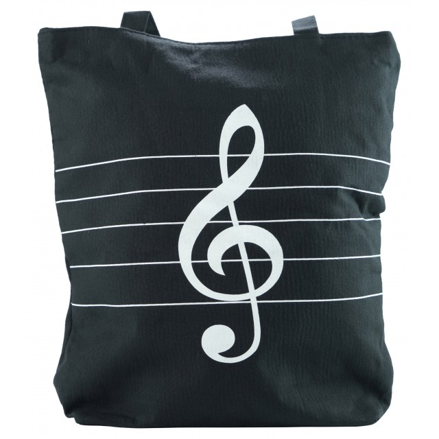 Treble Clef Printed Canvas Bag (Black)
