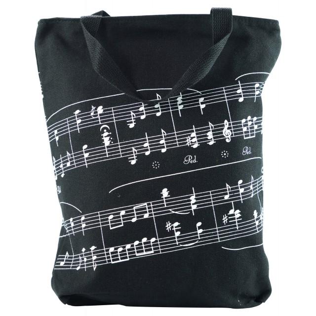 Music Note Printed Cotton Tote Bag (Black)