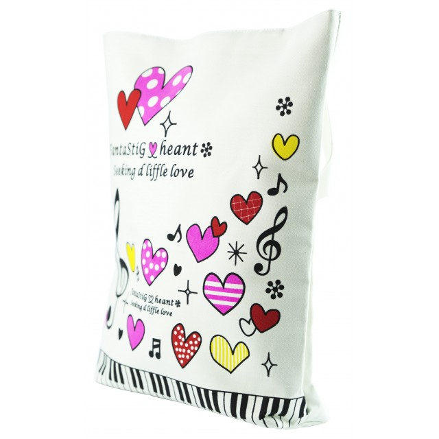 Heart Shaped Canvas White Bag (White)