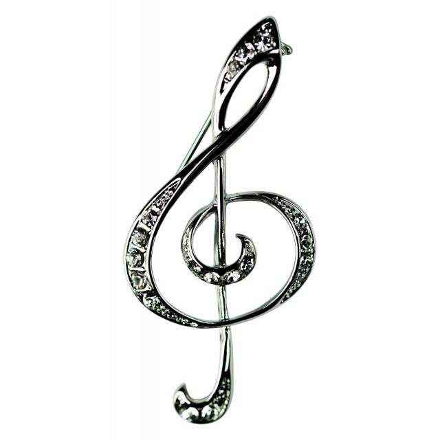 Crystal Brooch Pin (Silver)